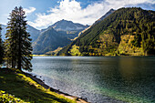 lake Vilsalpsee in fall, Tannheim Valley, Alps, Austria, Europe