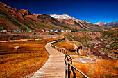 Puente del Inca is a town in the province of Mendoza, located in northwest Las Heras department of the province of Mendoza, in western Argentina. It was named after the Inca Bridge, a rock formation that forms a natural bridge over the River Caves. Landfo