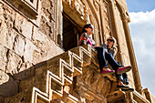 Travelers enjoy the view from Noravank Church, Armenia