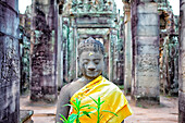 The Bayon (Prasat Bayon) is a well-known and richly decorated Khmer temple at Angkor in Cambodia. Built in the late 12th or early 13th century as the official state temple of the Mahayana Buddhist King Jayavarman VII, the Bayon stands at the centre of Jay
