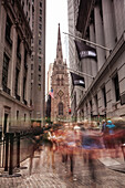 Wallstreet, Trinity Church, financialdistrict, Downtown, Manhattan, New York, USA
