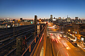 Subway track, Brooklyn, view to Manhattan, New York, USA