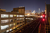 Brooklyn, subway line Nr. 7, view to Manhattan, New York, USA