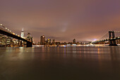 Brooklyn Bridge, Manhattan Bridge, East River, Skyline Downtown, Manhattan, New York, USA