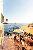 Restaurant at the Adriatic coast, Rovinj, Istria, Croatia