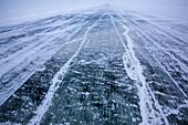 Ice road across the frozen Mackenzie River delta, from Inuvik to Tuktoyaktuk, Inuvik region, Northwest Territories, Canada
