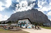 Emilio Comici hut at Langkofel, Trentino, South Tyrol, Italy