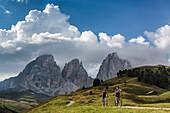 Mountain biker at Col Rodella, behind it Langkofel, Trentino South Tyrol, Italy