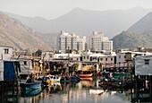 Canal scene, Tai O Fishing Village, Lantau Island, Hong Kong, China, Asia