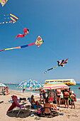 kites on the beach, Ice-cream seller, Camping, Marina di Venezia, Punta Sabbioni, Venice, Italy, Europe, mediterranean Sea