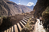 Woman exploring Inca Ruins of Ollantaytambo, Sacred Valley of the Incas Urubamba Valley, near Cusco, Peru, South America