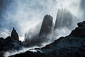 Dramatic mountain landscape, Torres del Paine National Park, Patagonia, Chile, South America