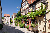 Restaurant in Maingasse street, Maintor Gate, Wine village of Sommerhausen, Mainfranken, Lower Franconia, Bavaria, Germany, Europe