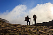 Hikers admire the landscape at dawn, Minor Valley, High Valtellina, Livigno, Lombardy, Italy, Europe