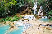 Kuang Si waterfalls, Luang Prabang area, Laos, Indochina, Southeast Asia, Asia