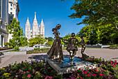 Joyful Moment Statue, Temple Square, Salt Lake City, Utah, United States of America, North America