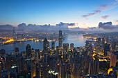 View of Hong Kong Island skyline at dawn, Hong Kong, China, Asia