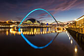 Gateshead Millennium Bridge at night, River Tyne, Newcastle Upon Tyne, Tyne and Wear, England, United Kingdom, Europe