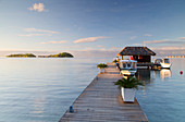 Jetty of Sofitel Hotel with Sofitel Private Island in background, Bora Bora, Society Islands, French Polynesia, South Pacific, Pacific