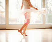Girl twirling in skirt