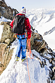Mountain Guide on the South West Ridge of Finsteraarhorn, Short Rope, Wallis, Switzerland