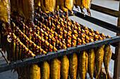 geräucherter Hering, Goldhering, Bornholmer Hering, Fischräucherei Allinge Røgeri,  Fischerdorf, dänische Ostseeinsel, Ostsee, Insel Bornholm, Allinge, Dänemark, Europa