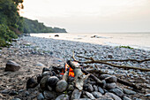 Campfire on the beach, adventure, outdoor, holiday, Baltic sea, Bornholm, near Gudhjem, Denmark, Europe