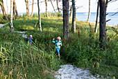 Children walking through the birch tree forest, dream beach between Strandmarken und Dueodde, summer, Baltic sea, MR, Bornholm, Strandmarken, Denmark, Europe