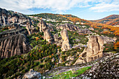 Landscape of rugged cliffs and autumn foliage, Meteora, Greece