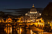 Saint Peter's Basilica, the world's largest church, at nighttime, Vatican City, Italy