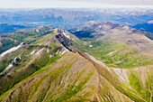 Aerial view of mountain ridges in the Brooks Range, Alaska, United States of America