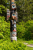 Native Alaskan Tlingit totem pole, Totem Bight Historical State Park, Ketchikan, Southeast Alaska, USA, Spring