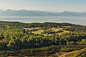 Aerial view of Kincaid Park, old military bunkers and ski trails, Anchorage, Southcentral Alaska, USA, Summer