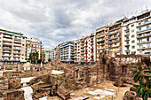 Contrast between new residential buildings and ruins, Thessaloniki, Greece