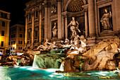 Trevi Fountain at nighttime, Rome, Italy