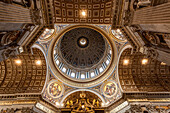 Ornate ceiling above the Papal altar, St. Peter's Basilica, Rome, Italy