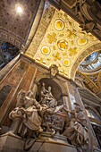 Statues and ornate ceiling, St. Peter's Basilica, Rome, Italy
