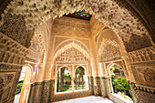 Patio of the Lions at the Nasrid Palace in the Alhambra Palace, Granada, Spain