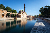 Chamber of Abraham, wall and minaret reflected in the tranquil water of a lake, Sanliurfa, Turkey