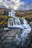 Dynjandi is one of the largest waterfalls in Iceland, consisting of seven different waterfalls that flow down the cascades on its way to the Atlantic Ocean, Iceland