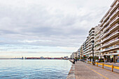 Residential buildings along the waterfront of the Aegean Sea, Thessaloniki, Greece