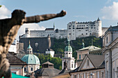 View from the Mirabell Gardens on the Hohensalzburg Fortress, the historic center of the city of Salzburg, a UNESCO World Heritage Site, Austria