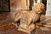 Romanesque lion 13th century, Franciscan church inside the historical center of the city of Salzburg, a UNESCO World Heritage Site, Austria