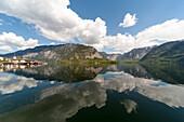 Lake Hallstatt, a UNESCO World Heritage Site The cultural landscape Hallstatt-Dachstein / Salzkammergut, Upper Austria, Austria