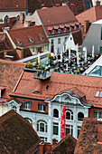 Restaurant cafe on roof terrace, department store Kastner & Ohler - Paradeishof, view from the Schlossberg on the historic center, a UNESCO World Heritage Site city of Graz - Historic Centre, Steiermark, Austria
