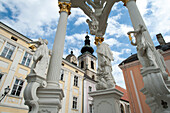 Holy Trinity Column on the Holy Trinity Square, Stein an der Donau, UNESCO World Heritage Site The Wachau Cultural Landscape, Lower Austria, Austria