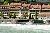 Houses of the old town on the River Aare, UNESCO World Heritage Site Old Town of Bern, Canton of Bern, Switzerland
