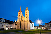 Cathedral former collegiate church, at dusk, UNESCO World Heritage Site Convent of St Gall, Canton St. Gallen, Switzerland