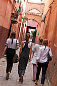 Tourists in the alleys of the Medina, Marrakech, Morocco