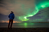Tourist watching the Northern Lights Aurora Borealis, Reykjavik, Iceland, Polar Regions